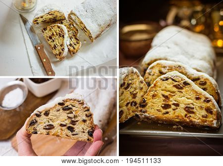 Photo collage Christmas baking concept german cake stollen sliced dough texture lit candles wicker basket festive atmosphere