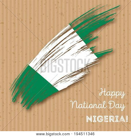 Nigeria Independence Day Patriotic Design. Expressive Brush Stroke In National Flag Colors On Kraft
