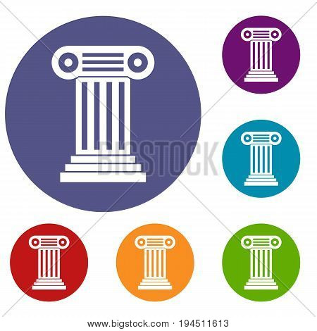 Roman column icons set in flat circle reb, blue and green color for web