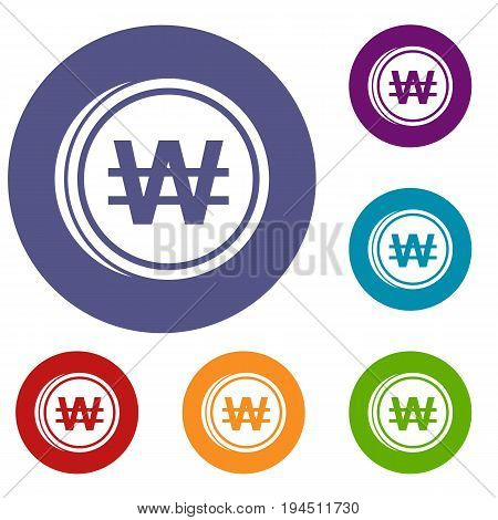 Coins won icons set in flat circle reb, blue and green color for web