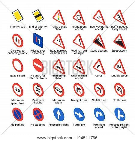 Isometric european traffic signs set. Vector road icons collection.