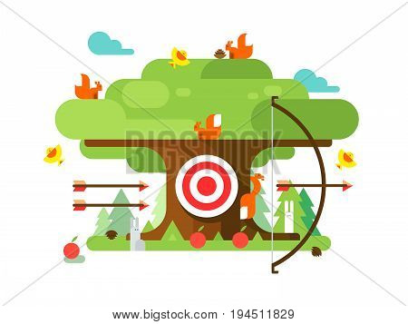Right targets tree with animal. Business aim, achievement goal, accuracy and perfection. Vector illustration poster