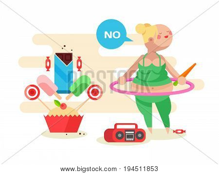 Fat girl with a hoop. Exercise sport gymnastic fitness, woman aerobic, vector illustration