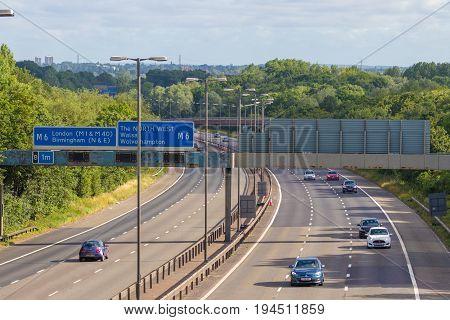 Birmingham, UK - July 2 2017: Traffic on British motorway M5 near West Bromwich
