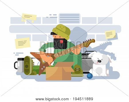 Street musician in underpass. Musical play, artist man person and guitar performer, vector illustration