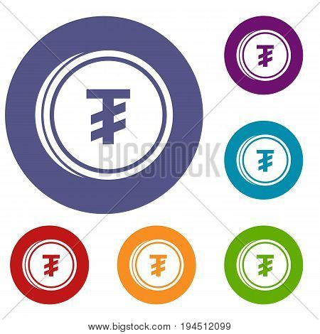 Tugrik coin icons set in flat circle reb, blue and green color for web
