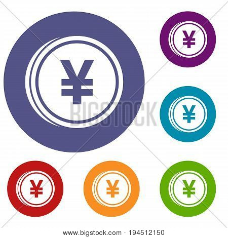 Coin yen icons set in flat circle reb, blue and green color for web