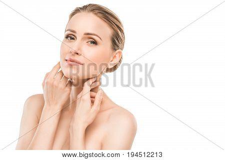 Mature female beauty health care studiio portrait smiling