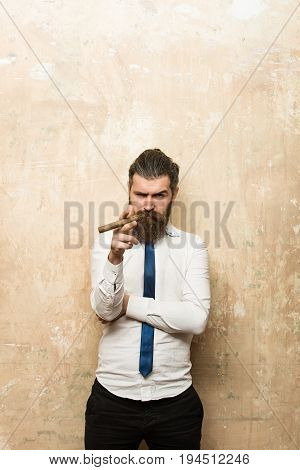 cigar at bearded man or hipster with long beard and stylish hair on serious face in tie and white shirt on textured beige background smoking