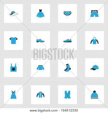 Clothes Colorful Icons Set. Collection Of Evening Gown, Beanie, Jacket And Other Elements. Also Includes Symbols Such As Boots, Skirt, Blouse.