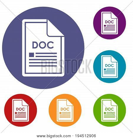 File DOC icons set in flat circle reb, blue and green color for web