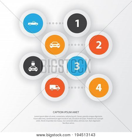 Automobile Icons Set. Collection Of Truck, Plug, Auto And Other Elements. Also Includes Symbols Such As Pickup, Truck, Carriage.