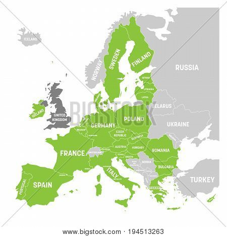 Map of Europe with green highlighted EU member states and United Kingdom in different color. Vector illustration. Simplified map of European Union.