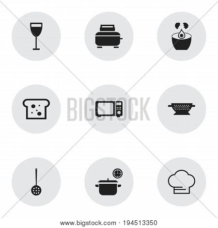 Set Of 9 Editable Cook Icons. Includes Symbols Such As Break Eggs, Saucepan, Strainer And More. Can Be Used For Web, Mobile, UI And Infographic Design.