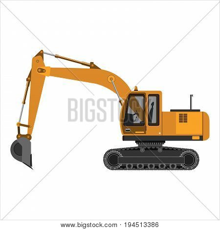 Powerful excavator crawler. Isolated on a white background. Construction heavy industry mechanical engineering. Flat design. Vector illustration.