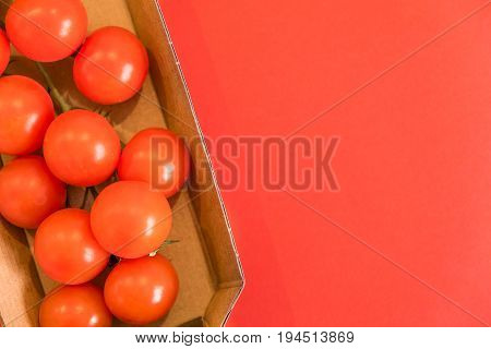 Seamless Pattern With Cherry Tomatoes. Abstract Background. Tomato On The Red Background. Group Of R