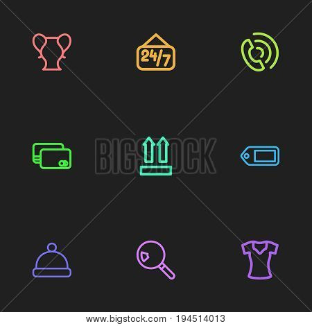 Set Of 9 Editable Business Icons. Includes Symbols Such As Woman T-Shirt, Qr Code, Pompom And More. Can Be Used For Web, Mobile, UI And Infographic Design.