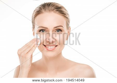 Mature female beauty health care studiio portrait cleanse face