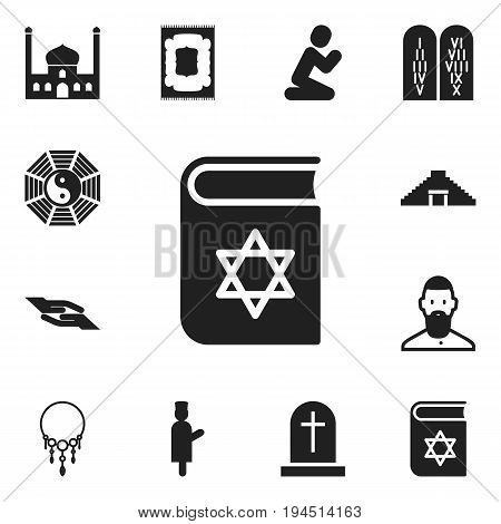 Set Of 12 Editable Religion Icons. Includes Symbols Such As Tombstone, Taoism, Chapel And More. Can Be Used For Web, Mobile, UI And Infographic Design.