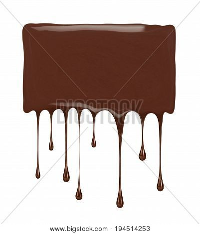 Place for inscription made from melted chocolate isolated on white background