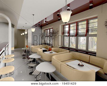 interior cafe,  3d render