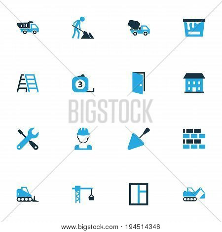 Architecture Colorful Icons Set. Collection Of Worker, Stairs, Putty Knife And Other Elements. Also Includes Symbols Such As Dozer, Tip, Equipment.