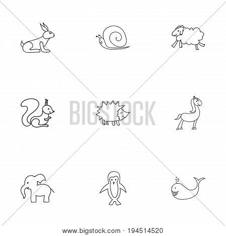 Set Of 9 Editable Animal Icons. Includes Symbols Such As Slug, Rabbit, Pony And More. Can Be Used For Web, Mobile, UI And Infographic Design.