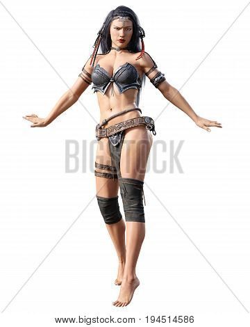 Warrior amazon woman. Long dark hair. Muscular athletic body. Girl standing candid provocative aggressive pose. Photorealistic 3D rendering isolate illustration. Hi key.