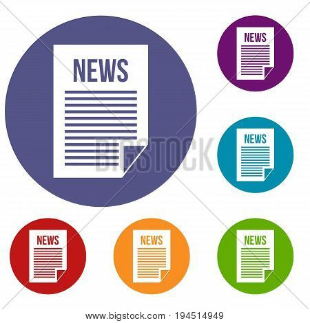 News newspaper icons set in flat circle reb, blue and green color for web