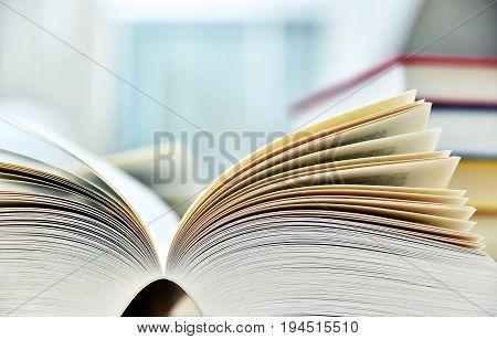 Books Lying On The Table In The Public Library