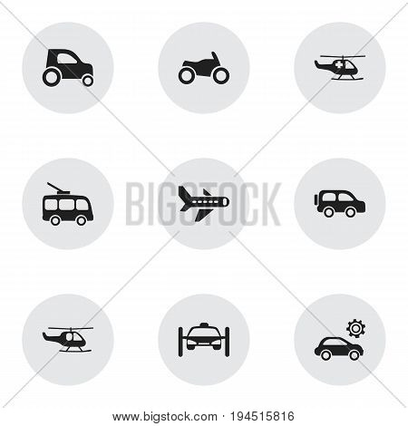 Set Of 9 Editable Transport Icons. Includes Symbols Such As Emergency Copter, Omnibus, Garage And More. Can Be Used For Web, Mobile, UI And Infographic Design.