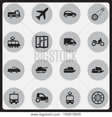 Set Of 16 Editable Shipment Icons. Includes Symbols Such As Wheel, Weapon, Cable Railway And More. Can Be Used For Web, Mobile, UI And Infographic Design.