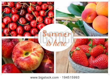Photo collage summer berries and fruits strawberries sweet cherries with water drops ripe organic apricots saturn peach and nectarines sticker with lettering text ready