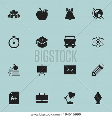 Set Of 16 Editable Education Icons. Includes Symbols Such As Jingle, Textbook, Portfolio And More. Can Be Used For Web, Mobile, UI And Infographic Design.