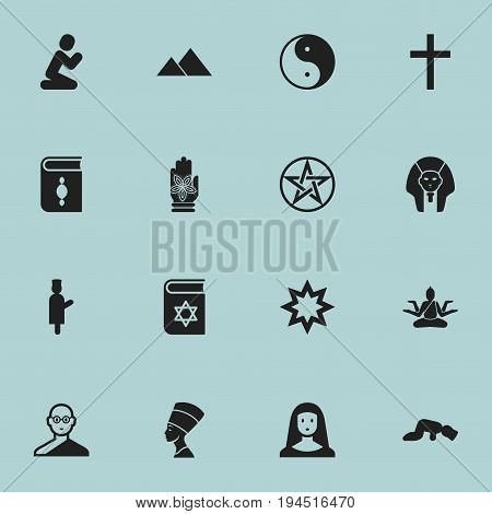 Set Of 16 Editable Dyne Icons. Includes Symbols Such As Buddha, Taoism, Holy Sister And More. Can Be Used For Web, Mobile, UI And Infographic Design.
