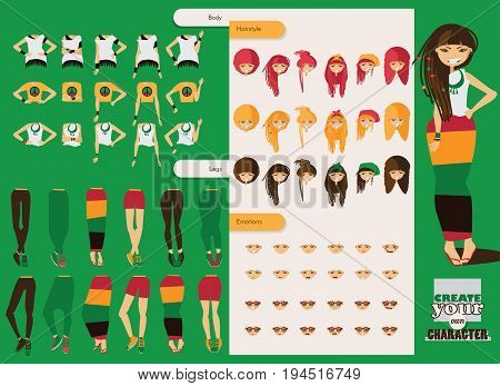 Vector constructor of rastafarian girl character. Spare body parts in various clothes different emotions set rasta dreadlocks of different hairstyle. Creation character collection