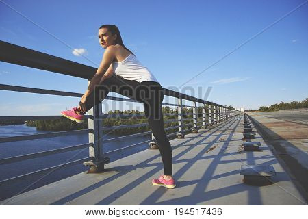 Good Day For Training. Horizontal Shot Of Confident, Beautiful And Young Woman In Sports Clothing Ho