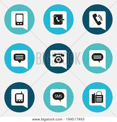 Set Of 9 Editable Device Icons. Includes Symbols Such As Telecommunication, Forum, Chat And More. Can Be Used For Web, Mobile, UI And Infographic Design.