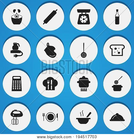 Set Of 16 Editable Cook Icons. Includes Symbols Such As Bowl, Break Eggs, Dough And More. Can Be Used For Web, Mobile, UI And Infographic Design.