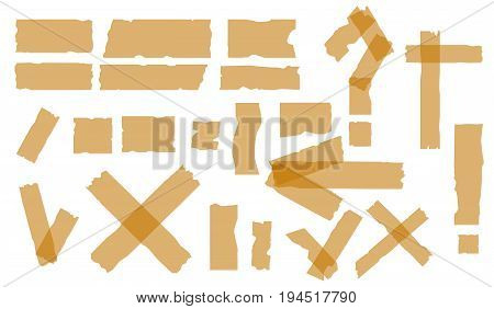 Adhesive tapes. Sticky tape pieces isolated on white background. Sticker question and exclamation. Vector Illustration