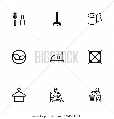 Set Of 9 Editable Cleanup Icons. Includes Symbols Such As Besom, Trash Bin, Tools And More. Can Be Used For Web, Mobile, UI And Infographic Design.