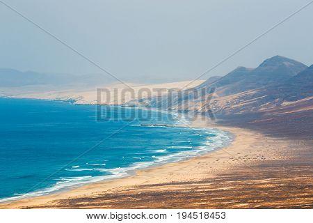 View Of Cofete Beach In Fuerteventura Island, Spain