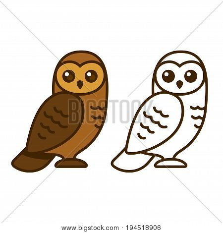 Cute cartoon owl vector illustration. Color drawing and line art.