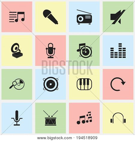Set Of 16 Editable Music Icons. Includes Symbols Such As Phonograph, Bass Speakers, Melody Seeking And More. Can Be Used For Web, Mobile, UI And Infographic Design.