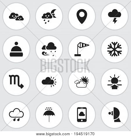 Set Of 16 Editable Weather Icons. Includes Symbols Such As Tempest, Clouded, Stormy And More. Can Be Used For Web, Mobile, UI And Infographic Design.