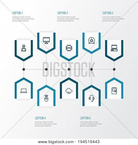 Hardware Outline Icons Set. Collection Of Notebook, Display, Hard Disk And Other Elements. Also Includes Symbols Such As Winchester, Headphone, Peripheral.