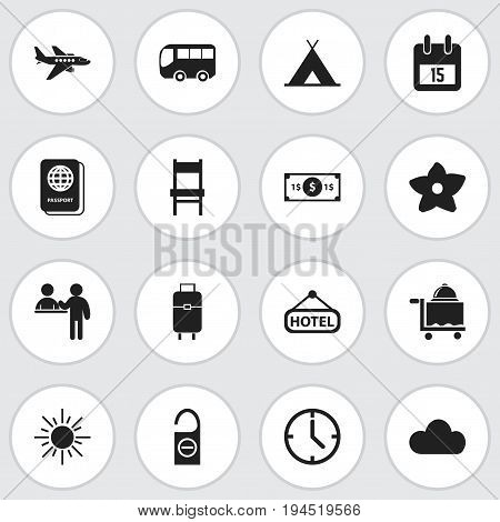 Set Of 16 Editable Journey Icons. Includes Symbols Such As Passport, Bloom, Signboard And More. Can Be Used For Web, Mobile, UI And Infographic Design.