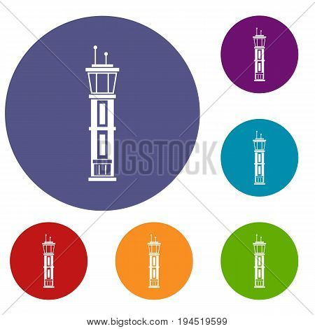 Airport control tower icons set in flat circle reb, blue and green color for web