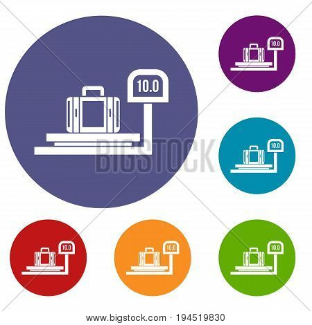 Luggage weighing icons set in flat circle reb, blue and green color for web