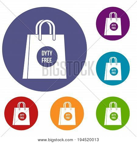 Duty free shopping bag icons set in flat circle reb, blue and green color for web